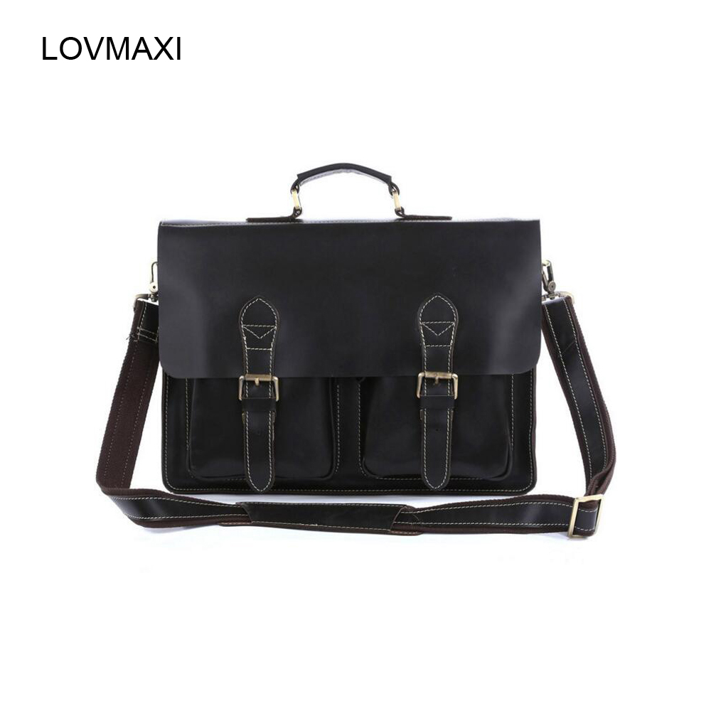 100% Genuine Leather Mens Bags Male Business Computer Bags Vintage Men Crossbody Messenger Shoulder Bag Travel Handbag 7105 polo men shoulder bags famous brand casual business pu leather mens messenger bag vintage men s crossbody bag bolsa male handbag