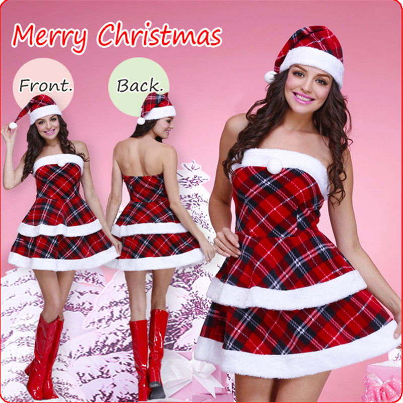 2018 New high quality Xmas red plaid dress Christmas cosplay Costumes Uniforms temptation Christmas nightclub show DS costumes