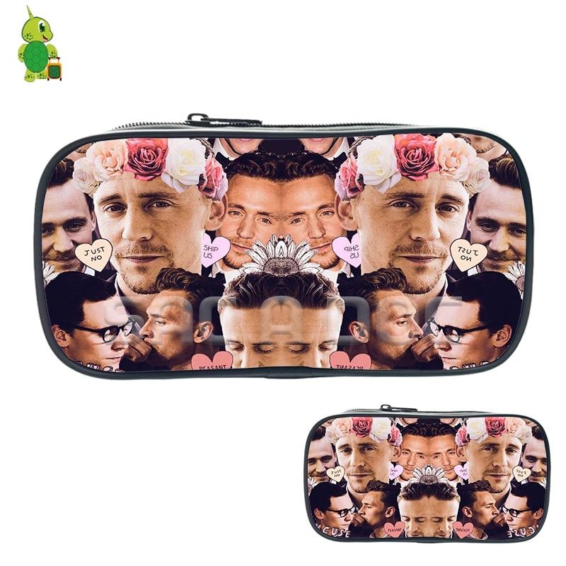 Famous Avengers Loki Tom Hiddleston Collage Cosmetic Bags Boys Girls Children Fashion Storage Bags Large Capacity Pencil Case