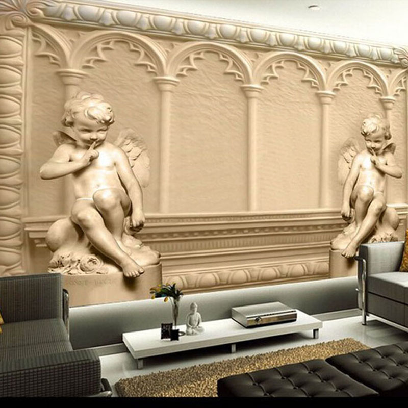 Custom Mural Wallpaper European Style 3D Embossed Angel Bedroom Living Room TV Sofa Background Wallpaper Roll Papel De Parede customized any size european 3d stereoscopic relief mural wallpaper roll living room sofa tv backdrop wallpaper papel de parede