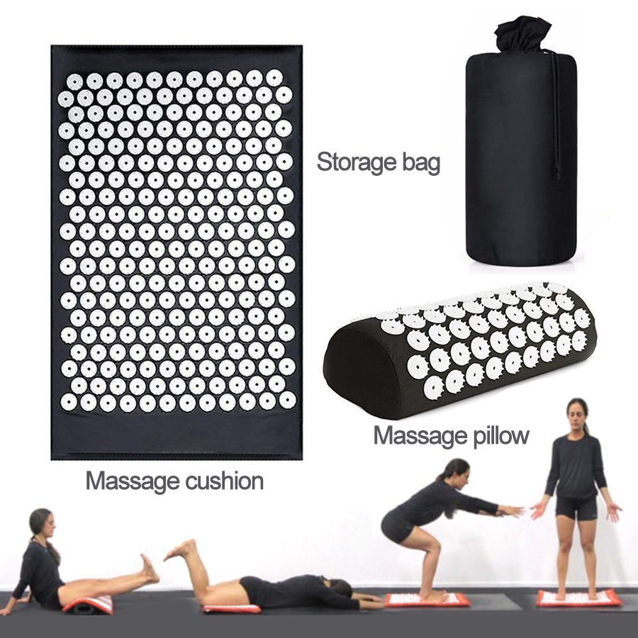 1 Set Massage Mat With Pillow Body Acupressure Massager Aid Relieve Stress And Pain Health Care Yoga Mat With Free Bag in Massage Relaxation from Beauty Health