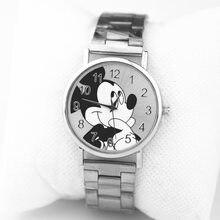 07950dd9a جديد ميكي ماوس العلامة التجارية النساء ووتش الرجال الأزياء ساعات كوارتز من  صلب لا يصدأ Reloj