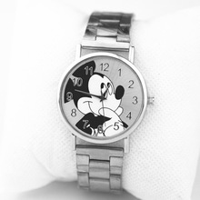 Women Watches Mickey Mouse  Top Luxury Band Fashion Women Watch Crystal Stainless Steel Analog Quartz Wristwatch Bracelet Clock