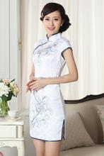 Shanghai Story Fashion Mini Qipao Chinese Women's Clothing Cheong-sam Dress Blend Cotton Qipao Floral print qipao