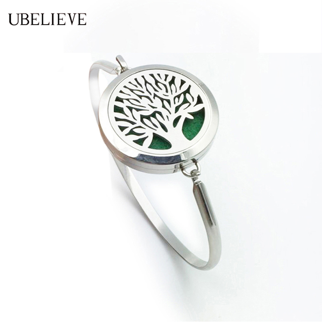 Tree Of Life Stainless Steel Round Magnet Essential Oil Diffuser Bangle Bracelet Aroma Perfume Locket