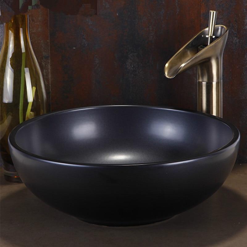 black europe vintage style ceramic art basin sinks counter top wash basin bathroom vessel sinks vanities bathroom sinks bowls