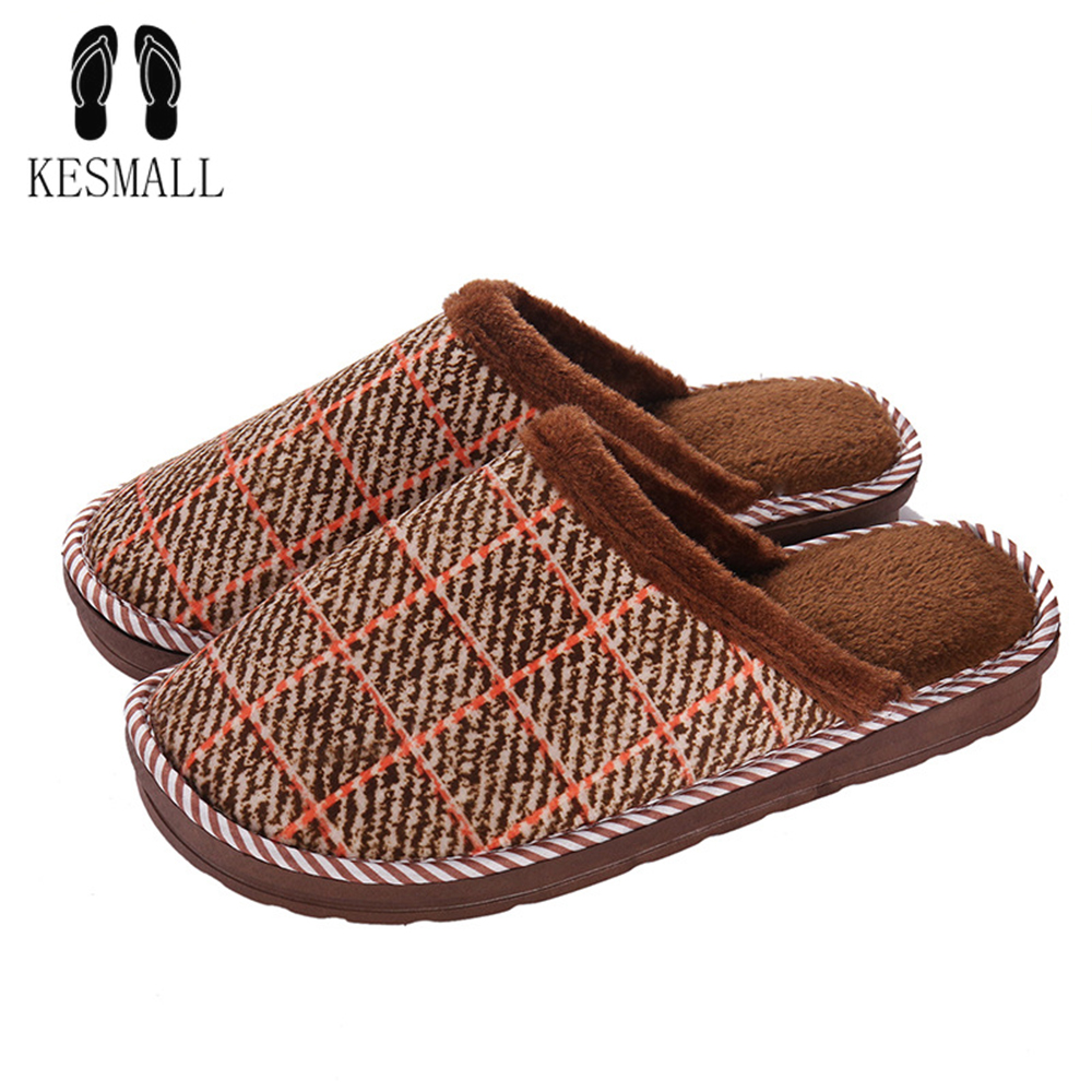 KESMALL Winter Home Slippers Men Footwear Comfortable House Indoor Slippers with Fur Pattern Male Slipper Warm Shoes Big Size 48
