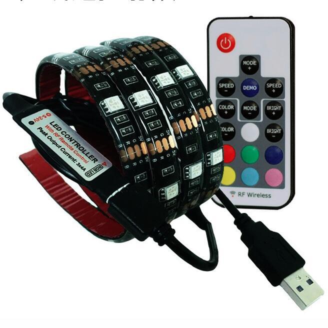 USB LED Strip RGB SMD5050 TV PC Background Lighting Kit Cuttable With 17Key RF Controller 60leds/m 1-5 Meters/Set DC5V