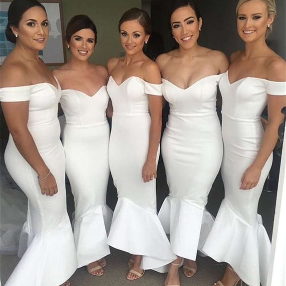Off White Satin Mermaid Wedding Party   Dresses   2019 Boat Neck Off The Shoulder Long   Bridesmaid     Dress   Cheap Vestidos De Madrinha