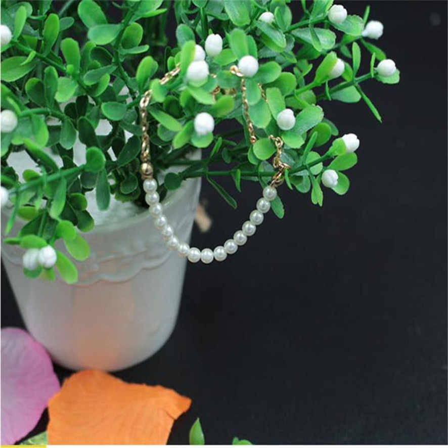 Melhor Preço 2018 Novo Simples Pérola Bead Elegante Moda Feminina Golden Chain Bracelet Bangle 102510