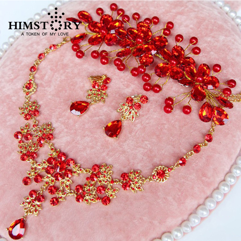 Promotional Red Flower Rhinestone Crystal Chunky Wedding Bridal Prom Jewelry Set Gold Plated Necklace Earring Tiara