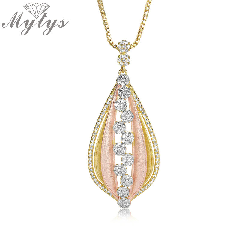 Mytys Palace Jewelry Graceful Polished Two Gold Color Petal Pendant Necklace Retro Court Two tone High Level Women Jewel CN409