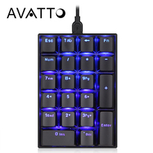 AVATTO Blackit Mechanical Wired Numeric Keypad with 21 Keys Mini Numpad Extended Layout Digtal Keyboard for Accounting Cashier