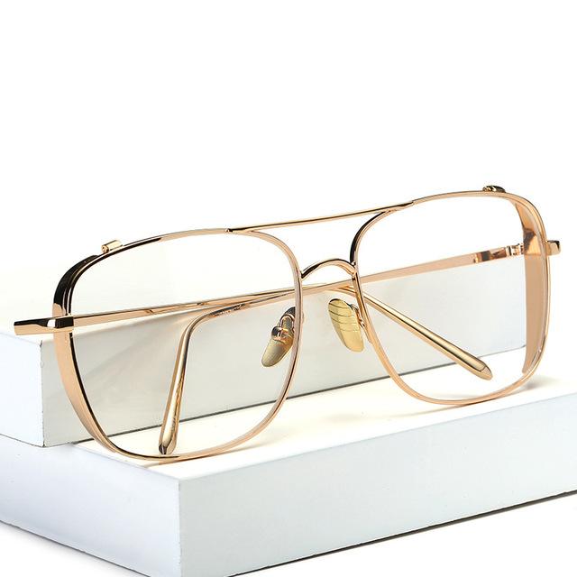 OOBON Luxo armações de óculos de olho para homens 2017 de alta qualidade metal ouro flat top grande homem óculos armações marca gafas