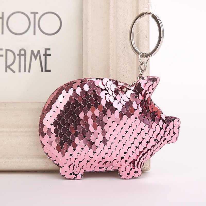 Dễ thương Pig Keychain Long Lanh Pompom Sequins Quà Tặng Móc Chìa Khóa cho Phụ Nữ Llaveros Mujer Túi Xe Phụ Kiện Vòng Chìa Khóa Chaveiro
