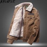 AYUNSUE Short Autumn Winter Jacket Men Faux Lamb Fur Collar Corduroy Cotton Coat Winter Jackets Mens Manteau Homme Hiver KJ753