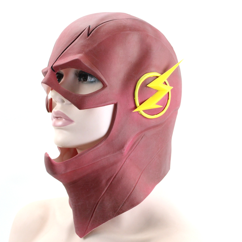 The Flash Mask Helmet Red Latex Full Face Head Mask Halloween Gifts Cosplay