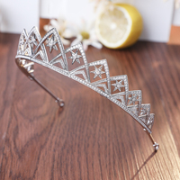 Full Cubic Zirconia AAA CZ Wedding Brides Crown Tiara Tiny Zircon Pave Round Cut Star Shape