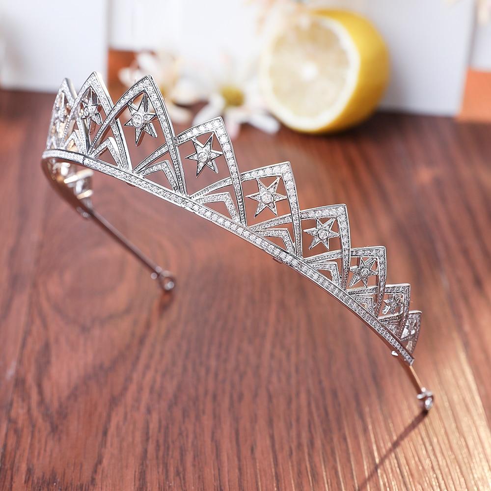 Full Cubic Zirconia AAA CZ Wedding Brides Crown Tiara Tiny Zircon Pave Round Cut Star Shape Princess Hair Coronet Hair Jewelry