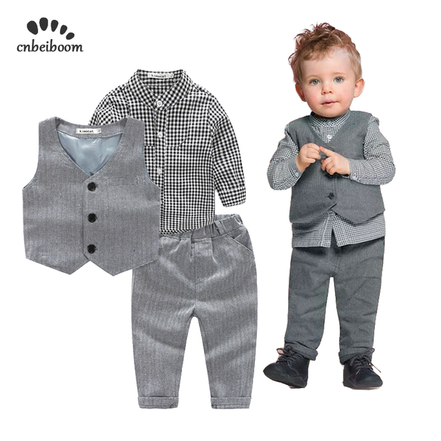 d58c3ab49 US $17.81 15% OFF|2019 New Trendy Baby Boy Clothes 3pcs Sets Vest + Plaid  Shirt + Pants Gentleman Kids Party Wedding Boys Newborn Birthday Suits-in  ...