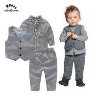 2019 New Trendy Baby Boy Clothes 3pcs Sets Vest + Plaid Shirt + Pants Gentleman Kids Party Wedding Boys Newborn Birthday Suits