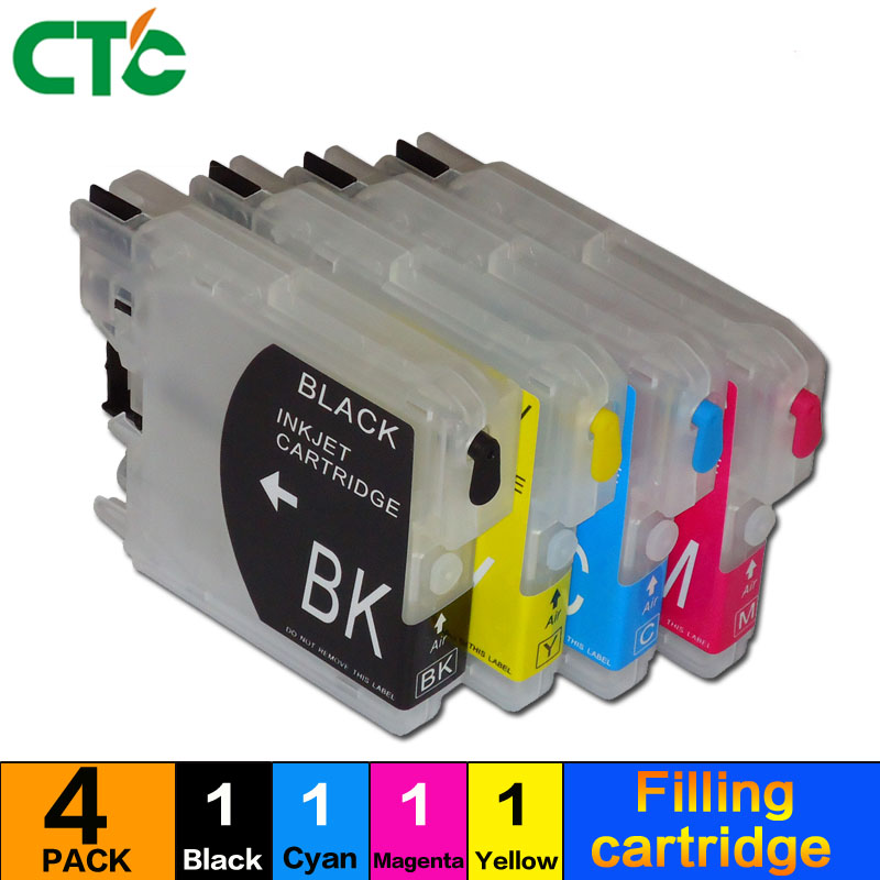 Compitalbe LC39 LC980 lc60 LC985 LC1100 Refillable ink Cartridge for Brother MFC-J220 DCP-J315W J125 J515W MFC J415W J125