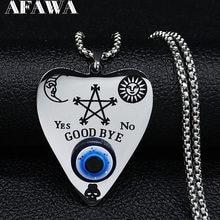2021 sol Luna Azul ojo pentagrama Wicca collar de acero inoxidable de las mujeres de Color de plata de la joyería, collar de acero inoxidable mujer N569S02