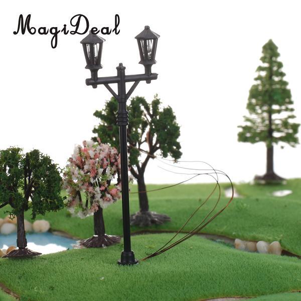 MagiDeal 20Pcs 1/100 Scale 6V Model Garden Light Double Heads Lamppost for Teaching Photography Street Trees Railway Decor 7cm