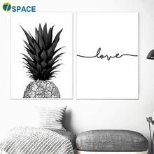 цена Pineapple Love Quotes Nordic Posters And Prints Wall Art Canvas Painting Black White Wall Pictures For Living Room Quadro Decor онлайн в 2017 году