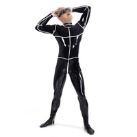 Новые поступления латекс Для Мужчин's комбинезон полный облегающий костюм латекса Колготки для новорождённых костюмы Zentai черный с белыми п