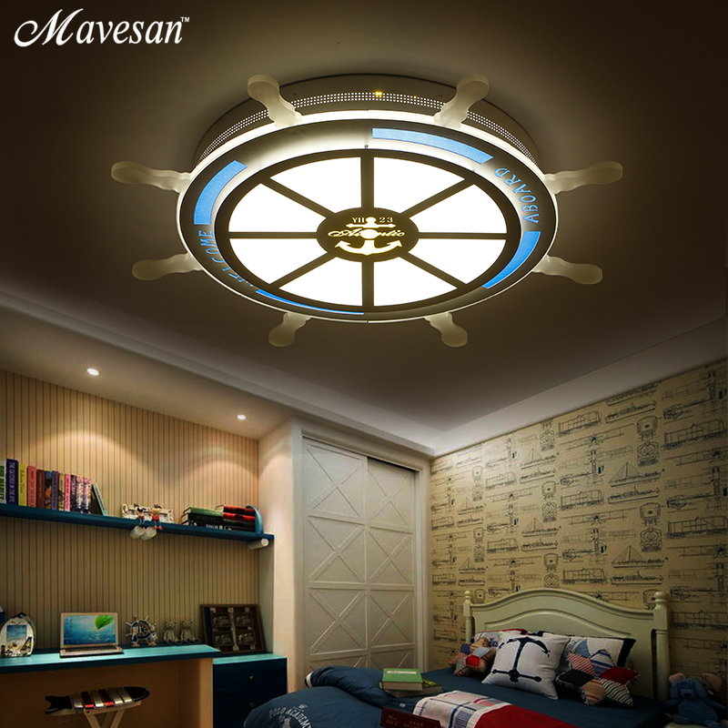 2018 Kid room Led Ceiling Lamp blue Pirate steering wheel for study room Ceiling led Lights contemporary for 5-10square meters цена