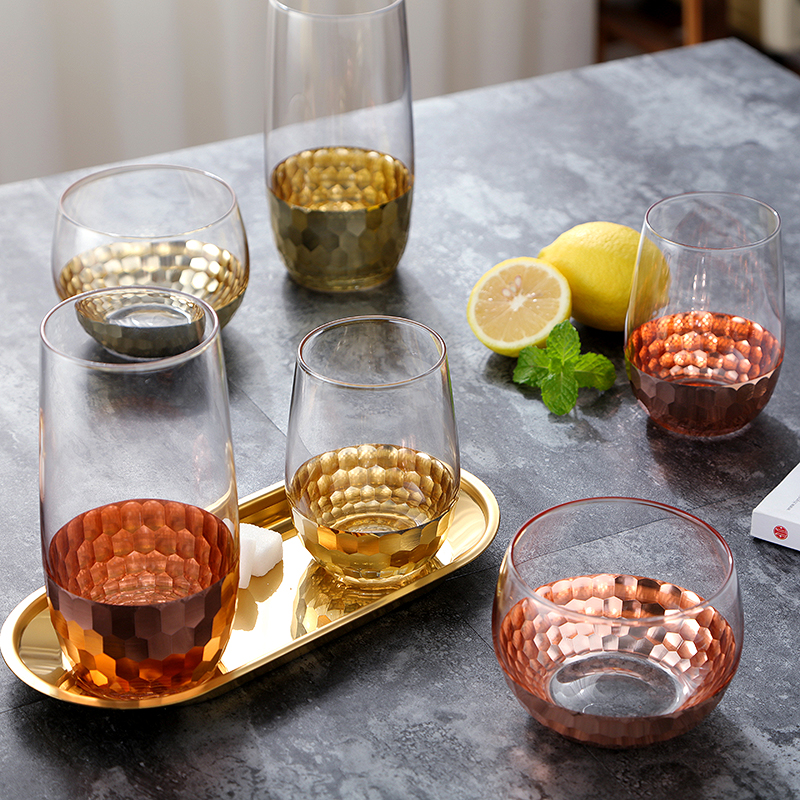Nordic large capacity household glass drinking cup yogurt dessert milk cup creative trend plating gold foil glass cold drink cup