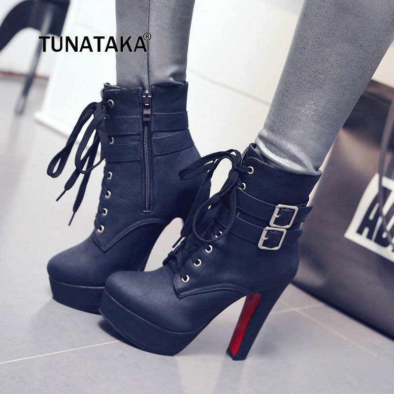 Women Winter Platform Square High Heel Ankle Boots Fashion Lace Up Buckle Round Toe Shoes Women Brown Beige Yellow Black women lace up comfortable square heel platform knee high boots fashion round toe keep warm winter shoes black red blue