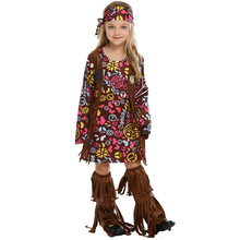 4fdfa50662b0 Adult Kid 60 s Hippie Costume Flower Power Disco Costume Ladies 70s Diva Fancy  Dress Outfit Halloween Costumes for Women Girl