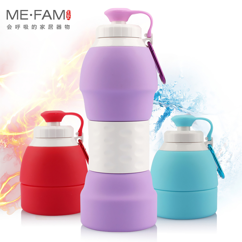 ME.FAM New 580ml Silicone Folding Sports Water Bottle With Aluminum Hooks Portable Foldable Outdoor Travel Water Storage Kettles