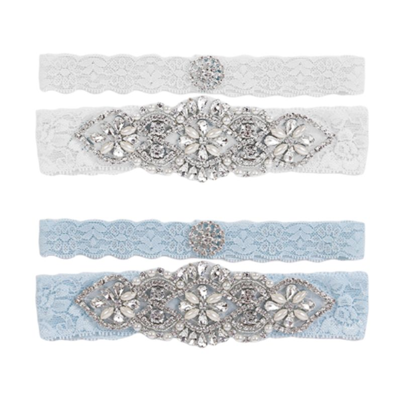 European Ladies Wedding Leg Garters Vintage Floral Lace Glitter Rhinestone Imitation Pearl Jewelry Bridal Stretch Thigh Belt Set