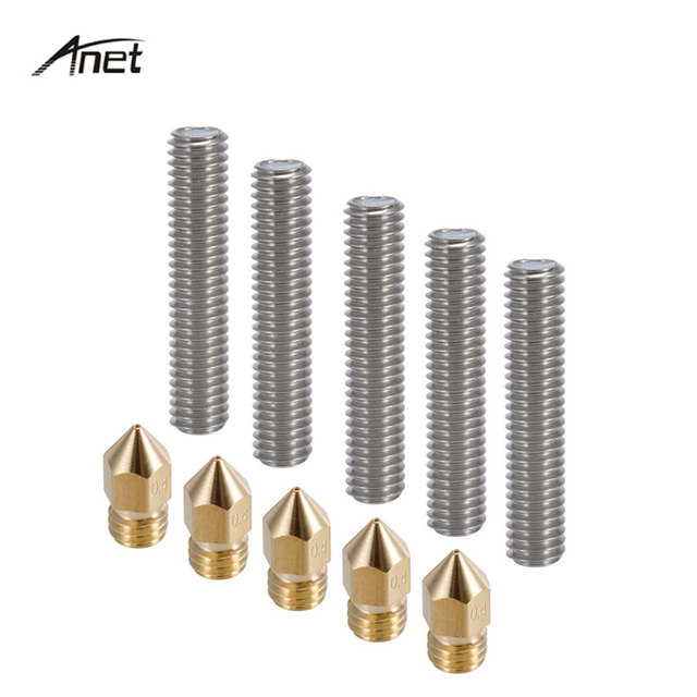 Anet A8 5pcs 30mm Extruder 1.75mm Throat Tube 5pcs 0.4mm Brass Extruder Nozzle Print Heads for MK8 Makerbot Reprap 3D Printer