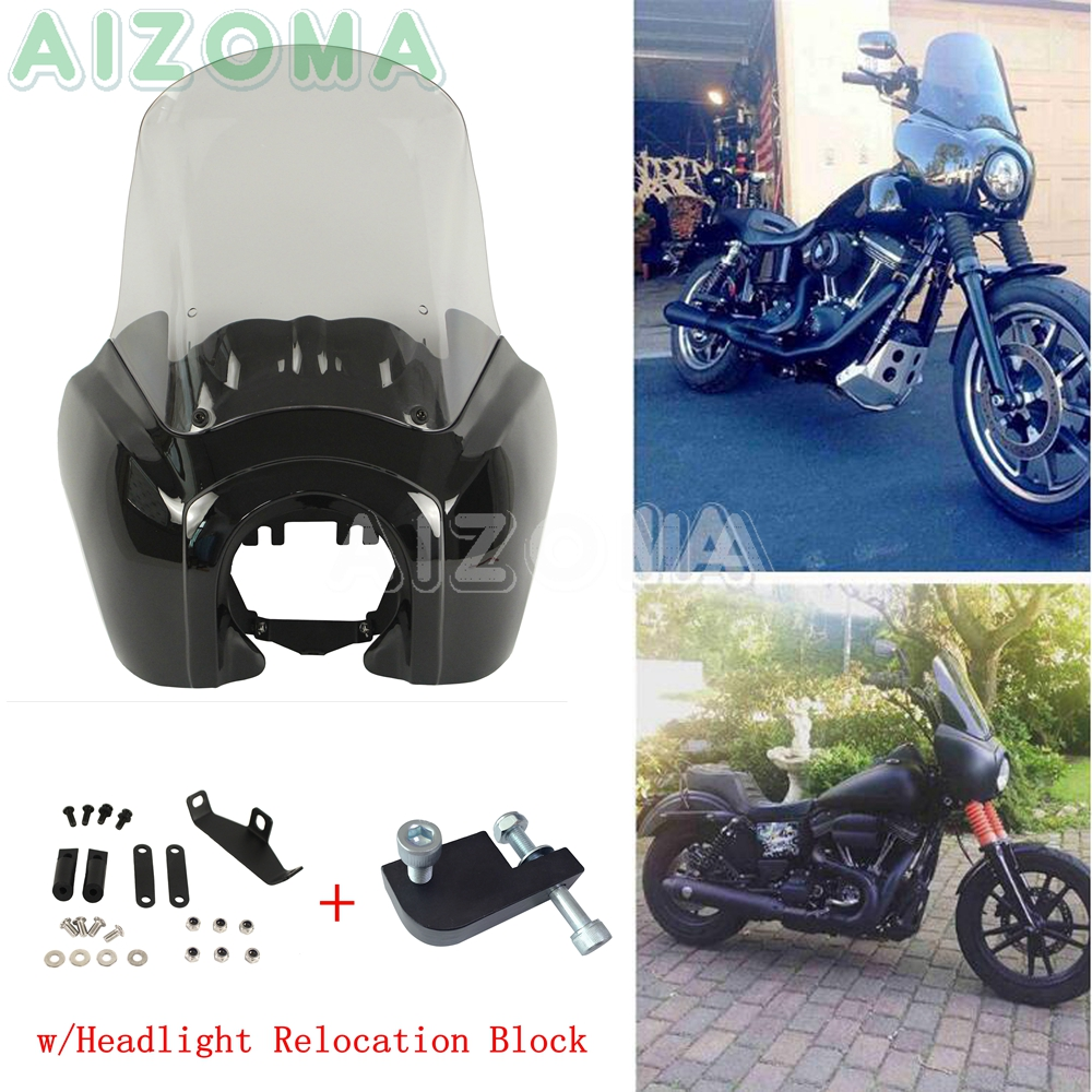 Gloss Black Front Fairing w 15 Clear Windshield Kits Motorcycle Headlight Mask Cover for Harley Dyna