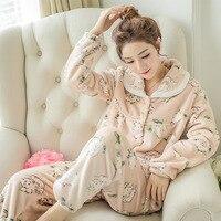 Kış mercan polar pijama pijama toptan kalınlaşmış hırka Yaka düğme kadın flanel 300 gram bir nesil