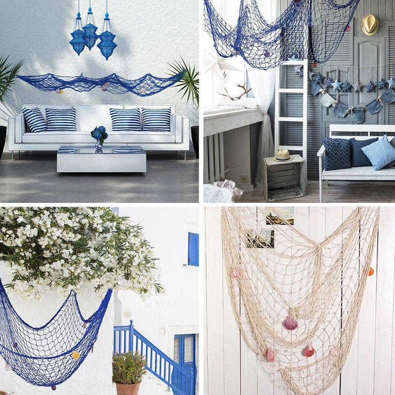 Fish Net Wall Hanging 3D Nautical Ocean Theme Fishing Netting Luau Ornaments For Party Wall Decor Home Marine Hanging Props