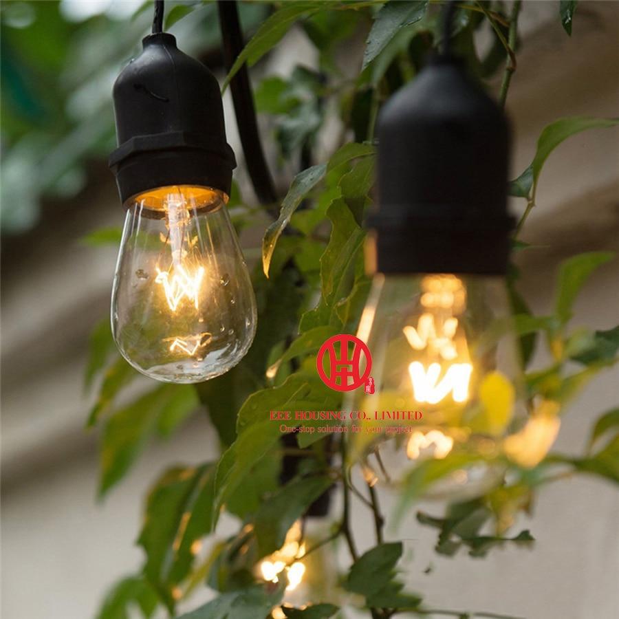 15m LED String Lights Outdoor Waterproof E26 S14 Warm LED Retro Edison Filament Bulb Street Garden Patio Holiday Lighting