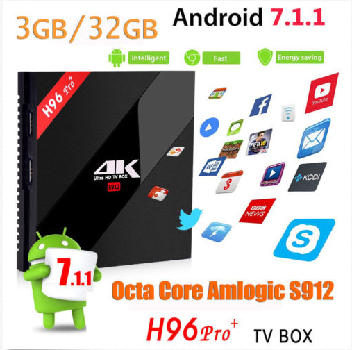 H96 Pro plus 10pcs 3GB 32GB Android 7.0 TV Box Smart Set top Box Amlogic S912 Octa Core Kodi Wifi Video player Bluetooth 3gb 32gb rom android tv box h96 pro plus android 7 1 amlogic s912 octa core 4k h 265 dual wifi bt4 0 h96 pro mini pc set top box