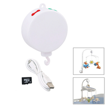 Song Rotary Baby Mobile Crib Bed Bell Toy Battery-operated Movement Music Box Newborn Crib Rattles Baby Toys + 128MB SD Card