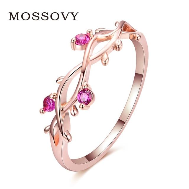 Mossovy פרחוני מצופה רוז זהב אירוסין טבעת לנקבה קריסטל זירקון עלה מתכוונן גבירותיי חתונה לתכשיטי נשים