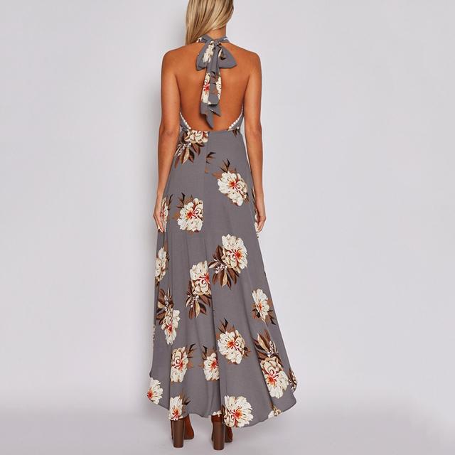 2017 Hot Summer Party Long Dress Boho Chiffon Floral Irregular Beach Maxi Dress Halter Print Irregular Backless Vestido