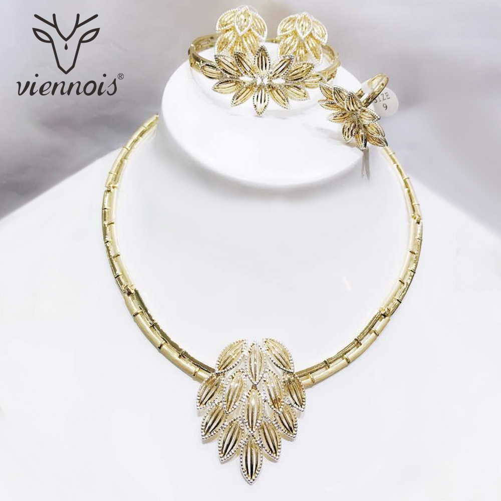 Viennois Mix Rose Gold /Silver Color Stud Earrings Hollow Leaf Jewelry Set for Women Jewelry Sets New Wedding viennois gold silver color jewelry set for women round stud earrings choker necklace cuff bracelet