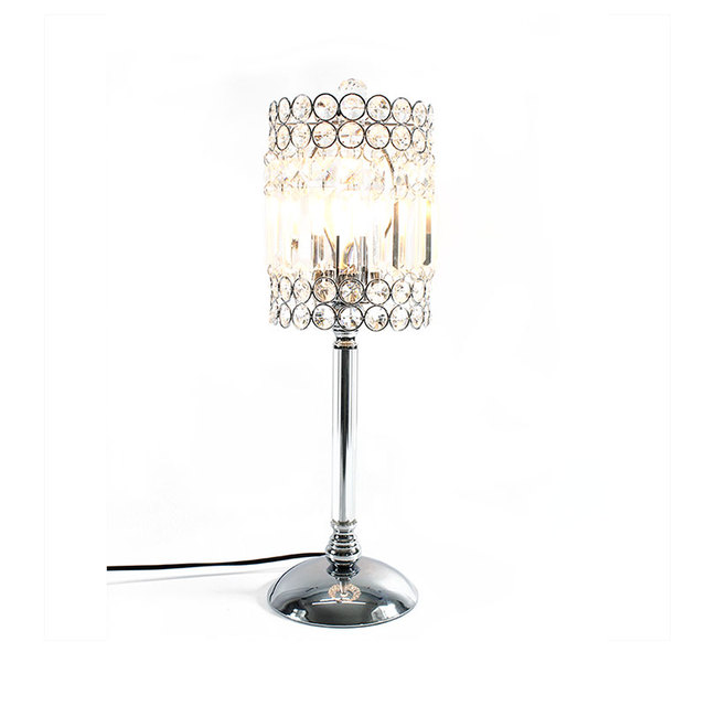 Sunli House Metal Silver Chrome Plated Table Lamp Crystal Beads Reading Ac Wedding Decoration European