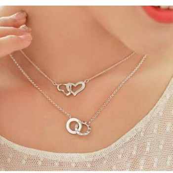Tang Wei Beijing encounter Seattle with the Korean version of the double heart-shaped necklace 8ND239 image