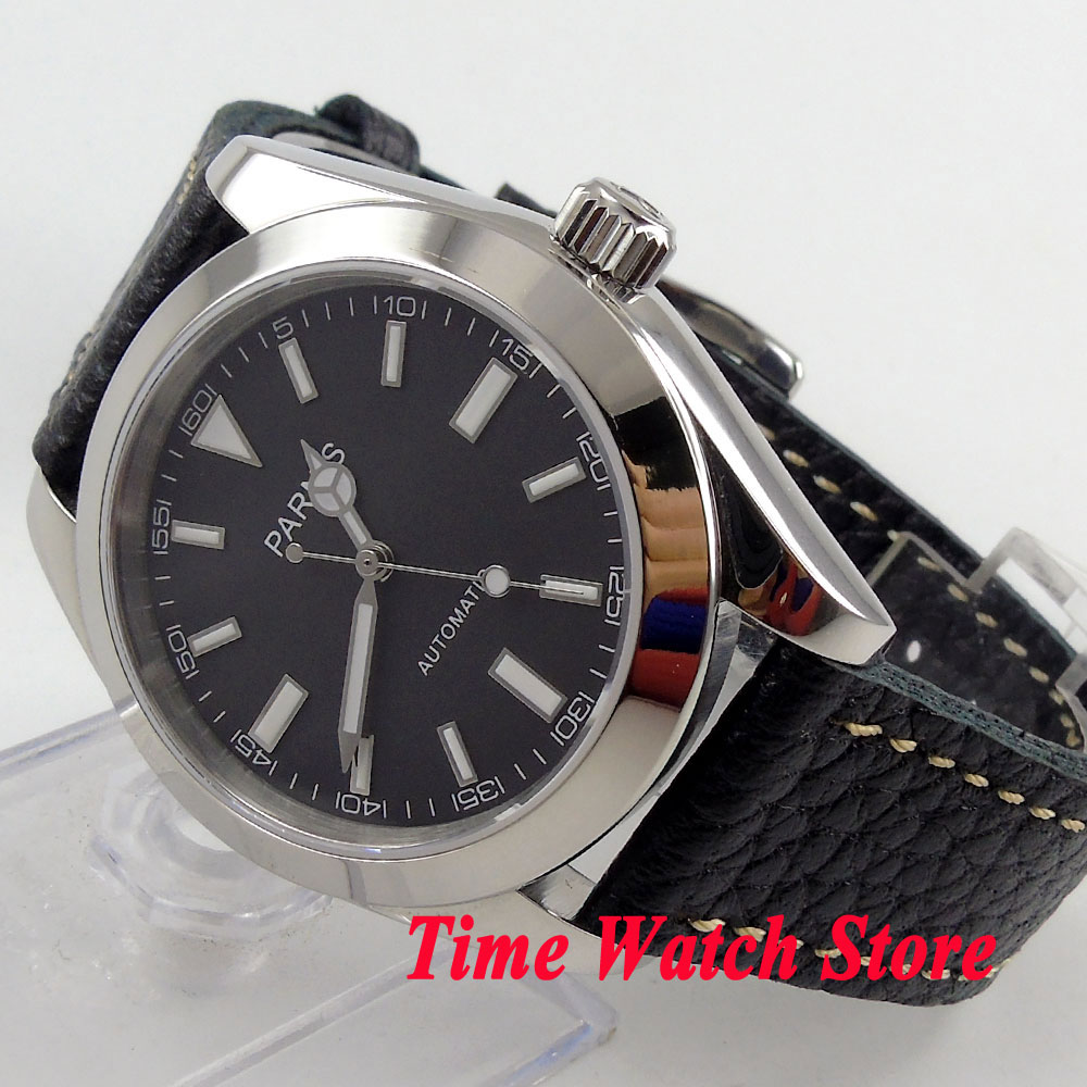 Parnis 40mm black dial luminous sapphire glass MIYOTA Automatic movement mens wristwatch 665 relogio masculinoParnis 40mm black dial luminous sapphire glass MIYOTA Automatic movement mens wristwatch 665 relogio masculino