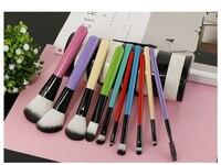 MODOAO New Arrival 10pcs Cosmetic Powder Foundation Contour Blush Brush Set Zebra Stripes Holder Container Women
